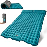 Self Inflating Sleeping Pad with Foot Pump Build in, Waterproof Sleeping Pad for Camping 2 Persons with Pillows, Ultralight Camping Pad for Sleeping (4in Thick)