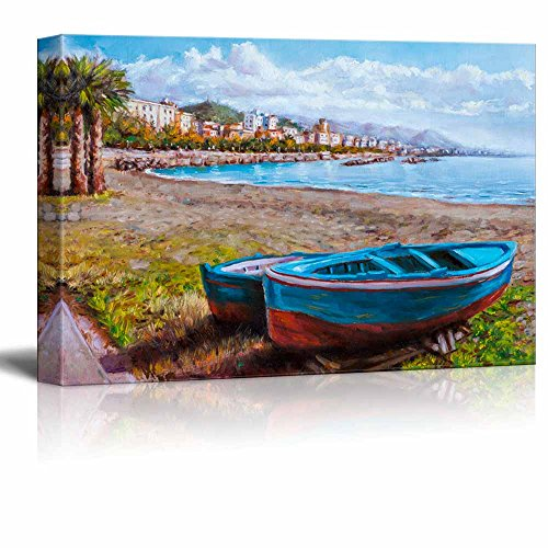 Canvas Prints Wall Art -Painting of a Coastal Landscape| Modern Home Deoration/Wall Art Giclee Printing Wrapped Canvas Art Ready to Hang - 16' x 24'