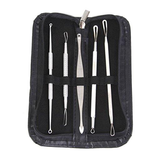CanViUKK Kit de 5 tire-comédons en acier inoxydable pour traitement de l'acné, des imperfections et des points blancs