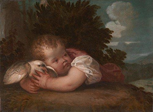Das Museum Outlet–Tizian oder Tizian Workshop–Ein Junge mit einem Vogel–Poster Print Online kaufen (152,4x 203,2cm)