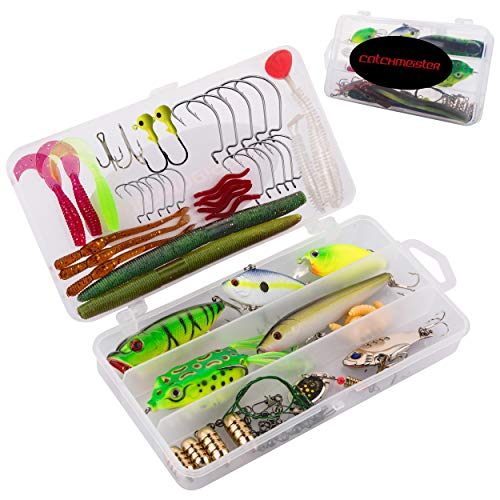 Catchmeister Fishing Tackle Box and Lure Kit Double Layer Hard Plastic 62 Piece Saltwater & Freshwater Fishing Rig