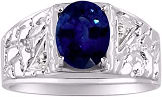 Genuine 3 Carat Oval Midnight Blue Sapphire & Natural Diamonds Set in Nugget Designer Style Sterling Silver 925 Ring