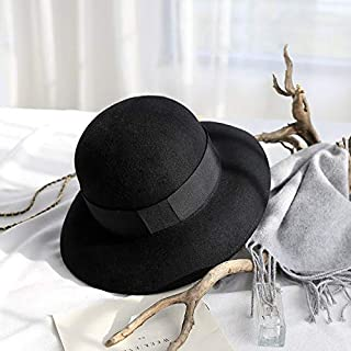 YANGBM Ms. Hats, Wide-Brimmed Wool Hat Child, Bowler Hats, Warm Autumn and Winter Hats, Bucket Hats, Adjustable Hat Around Sweatband, Clothing Accessories (Color : Black)