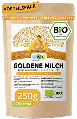 Bio Goldene Milch Golden Milk Kurkuma Latte Mix 250 GR. +25 GR.extra XXL Pack mit Kurkuma, Ingwer, Ashwaganda, Ceylon Zimt, Ceylon Pfeffer, Kokosblütenzucker I Made with Love