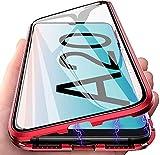 Kcdream Samsung Galaxy A20 ケース 両面強化ガラス A20 透明 ケース 金属フレーム 磁気吸着 ……