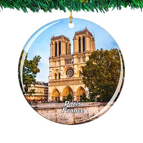 Weekino France Notre Dame de Paris Christmas Ornament City Travel Souvenir Collection Double Sided Porcelain 2.85 Inch Hanging Tree Decoration