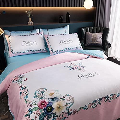 Juegos De SáBanas De 80,Ropa de cama de seda, refrescante fresco suave anti-faded resistente al sudor antiestático es una cama de manga de una sola funda de almohada, regalo de cumpleaños casado-H_1,
