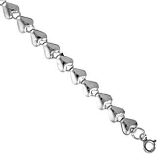Sterling Silver puffy Hearts Charm Bracelet 8mm wide, fits 7-8 inch wrists