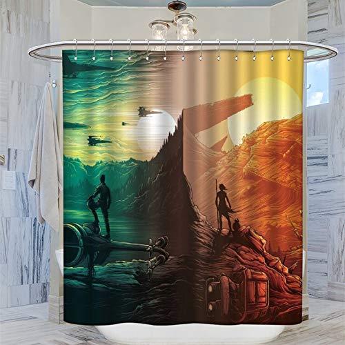 Trelemek Star-Wars-Duschvorhang, 183 x 183 cm, wasserdicht, mit 12 Kunststoff-Haken, waschbarer Badvorhang