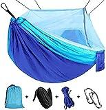 Viaje y Camping Hamaca, Mosquitero Hamaca Ultra Ligera para Viaje y Camping Nylon Portátil Paracaídas Secado Rápido para Excursión Jardín 110'(L) x 59'(W) (Blue/Sky Blue)