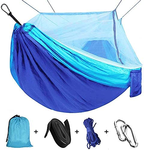 Amaca da Campeggio, Esterno Amaca da Giardino con Zanzariera Traspirante Nylon da Paracadute per Interno Giardino, Escursioni Viaggi all'Aperto Amache 110'(L) x 59'(W) (Blue/Sky blue)
