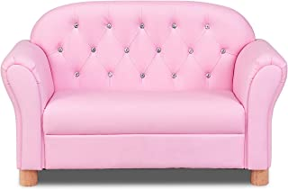 Costzon Kids Sofa, PU Leather Upholstered Armrest Chair, Sturdy Wood Construction, Crystal Embedded, Perfect for Preschool Girls, Pink (37-Inch Lounge Couch)