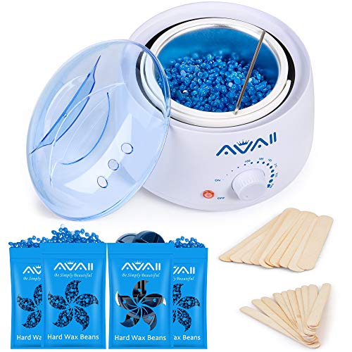 Home Waxing Kit, AVAII Wax Warmer Kit for Hair Removal with 14oz Hard Wax Beads (4 bags), 20 Wax Sticks for Women Men