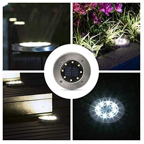 Luces solares de tierra – Luces solares de jardín impermeables con energía solar para exteriores para césped, patio, camino, escaleras, pasarela, luces de inundación