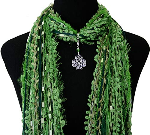 Celtic Knot Shamrock Necklace Scarf ~ Green St Patrick's Day Accessory ~ Irish Triquetra Trinity Knot ~ Detachable Pendant Option