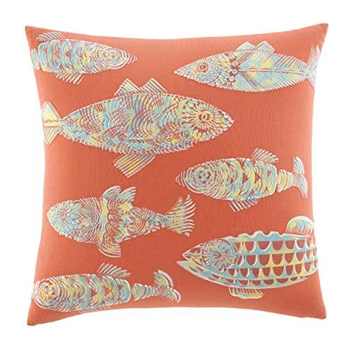 Tommy Bahama Home Batic Fish 20-inch Decorative Pillow, Antique Palm, Multi Orange