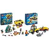 LEGO60264CityOcéano:SubmarinodeExploración,SetdeConstrucciónparaNiños+5añosconDronSubacuáticoyMiniFiguras + 60286CityQuaddeRescateCosteroconRemolque
