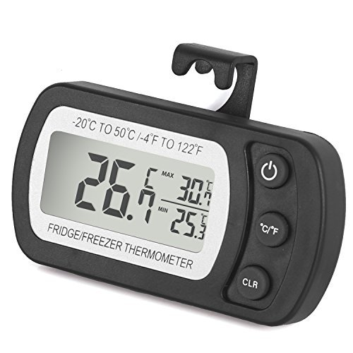 Fridge Thermometer, Waterproof Refrigerator Freezer Thermometer Temperature Monitor Easy to Read LCD Display with Hook (Black, 1pack)