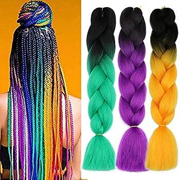 Rainbow Braiding Hair Pre Stretched Ombre Jumbo Box Braids Hair Extensions Kanekalon Synthetic Hair For Braiding  T1B/Green ,T1B/Purple ,T1B/Orange