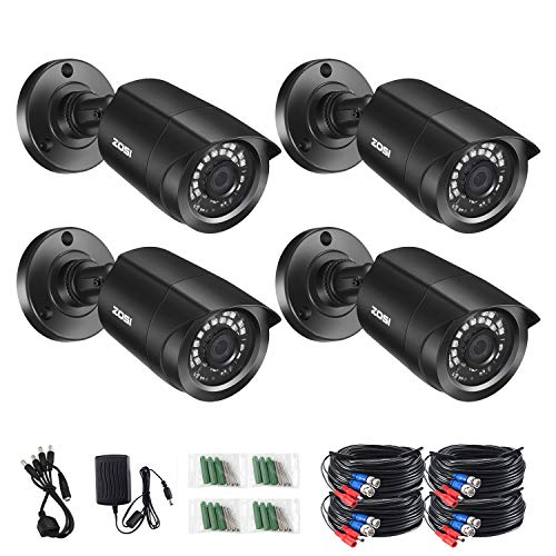 ZOSI 1080P 4 Pack HD-TVI Security Bullet Cameras Outdoor Indoor Weatherproof with 24pcs IR LEDs 80ft Night Vision for 720P/1080N/1080P/5MP/4K HD-TVI AHD CVI Analog Surveillance CCTV DVR Systems