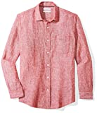 Amazon Essentials Men's Regular-Fit Long-Sleeve Linen Shirt, red, X-Large