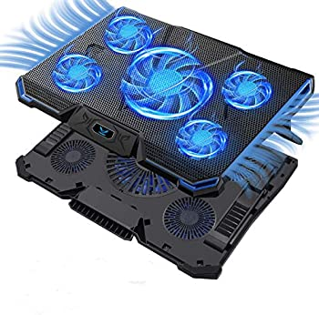 Wsky Laptop Cooler Ultra Slim 12  -17   inch Laptop Cooling Pad with 5 Quiet Fans and Blue LED Light Dual 2 USB 2.0 Ports Adjustable Mount Stand Height Angle