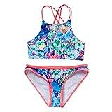 Ounice 2Pcs Kids Girls Swimsuit Printing Ink Bikini Camisole + Shorts Swimwear 7-14Y (Blue, 13-14 Years)