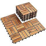 Wood Interlocking Flooring Tiles (Pack of 10, 12' x 12'), Solid Wood Acacia Deck Tiles Interlocking, Patio Tiles Outdoor Interlocking Waterproof All Weather(12 Slat, Natural Color)