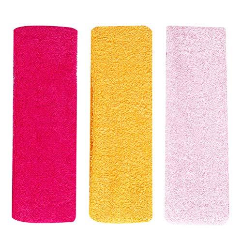 Lurrose 12 unids mujer simple diadema elástica diadema colorida toalla diadema moda aro para maquillaje deporte yoga correr (rosa amarillo y rosa 4 piezas para cada uno)