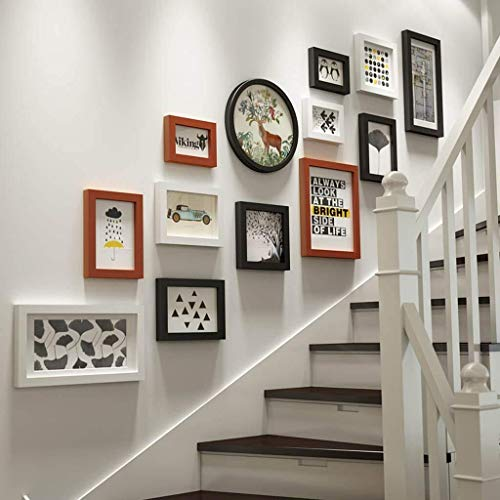 USRVR Photo Frame Collage 13 Pcs Solid Wood Combination Stairs Creative Photo Background Wall Decoration,Gallery Wall Frame Set