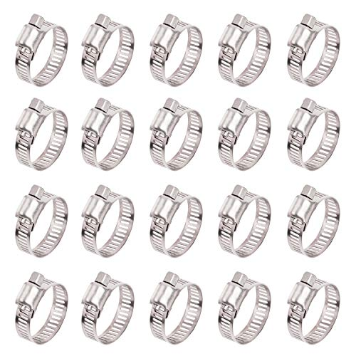 ISPINNER 20pcs Stainless Steel Adjustable 18-32mm Size Range Worm Gear Hose Clamp, Fuel Line Clamp for Plumbing, Automotive and Mechanical Application