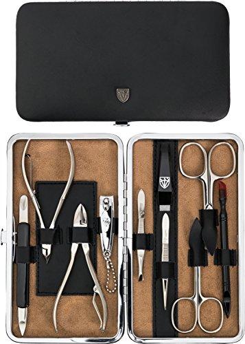 Drei Schwerter - Exklusives 10-teiliges Maniküre - Pediküre - Nagelpflege-Set / Etui - Qualität - Made in Solingen - ECHT LEDER (952301)