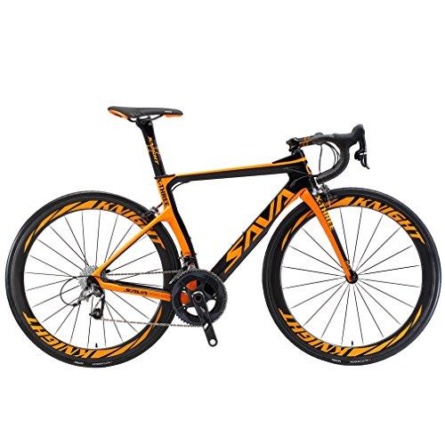 SAVADECK Phantom3.0 Carbon Rennrad 700C Kohlefaser Rennräder Vollcarbon Fahrrad mit Shimano Ultegra R8000 22 Gang Schaltgruppe Continental Reifen und Fizik Sattel (Schwarz Orange-(50mm Räder), 56cm)