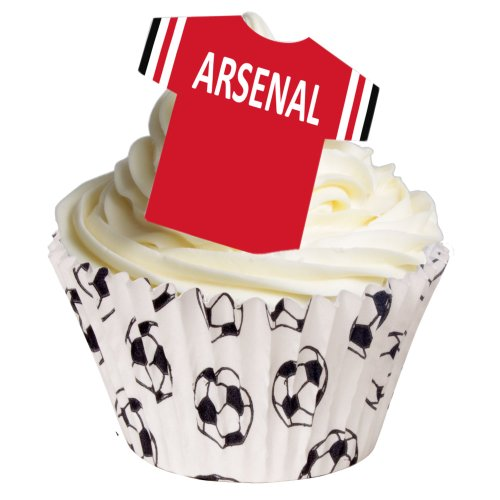 12 Edible Pre-cut Wafer Football Shirts: Arsenal