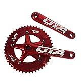 DZGN 48T Fahrradkurbelsatz, Festrad 130 BCD einzelne Geschwindigkeit Aluminiumlegierung Kurbel Kettenrad Fahrrads,Rot