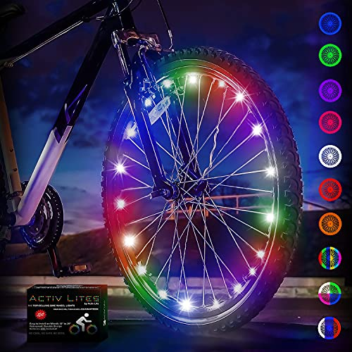 Bike Lights by Activ Life (1 Tire, Multicolor) Popular LED Bicycle Gifts for Kids Fun, Top Unique Presents 2021, Popular Children Toys, Best for Hot Outdoor Family Child Bday Party Regalos de Navidad