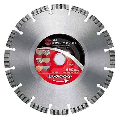 Diamanttrennscheibe TLG Premium Ø 350/20,0 mm Bohrung für amierten Beton, Natur- u. Kunststein, Keramik, Baustellenmaterial mit 10 mm Turbosegment
