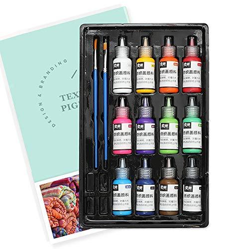 Walory Juego de Pintura de Tela de 12 Colores 60ml Cada Botella Pintura Textil para Lienzo Cerámica Arte y proyectos de Bricolaje Graffiti Pintura líquida líquida Decoración...