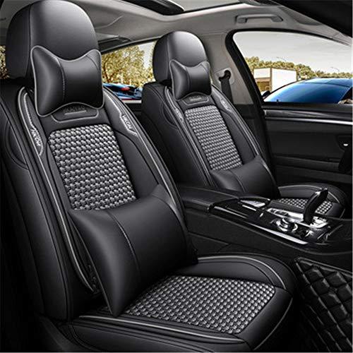 Funda de asiento de coche de cuero Pu de lujo, juegos de 5 asientos, fundas de asiento delantero y trasero profesionales premium universales aptas para la mayoría de los coches,Gris