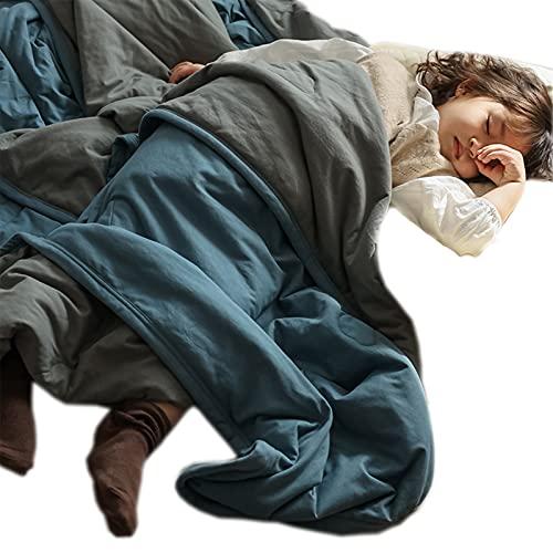 Colcha De Verano De Color Puro Algodón De Punto De Algodón De Verano Colcha Súper Suave Colcha Lavable A Máquina para Dormir Desnudo Suave Y Delicado, 200X230cm,Blue 2
