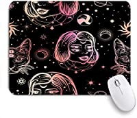 ECOMAOMI 可愛いマウスパッド 4つ目の女性と猫とタトゥーアートスタイルの暗い魔女のシームレスなパターン 滑り止めゴムバッキングマウスパッドノートブックコンピュータマウスマット