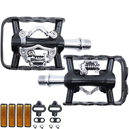 HEPINGJIANGENBO MTB Peadal Mountain Bike Pedals Mountain Cycling Pedals with Cleat Compatible with SPD Structure (ZP-101Z Black Dual Platform Bike Pedal)