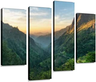 IGOONE 4 Panels Canvas Paintings - Sunrise Over Mountains in Ella, Sri Lanka - Wall Art Modern Posters Framed Ready to Hang for Home Wall Decor