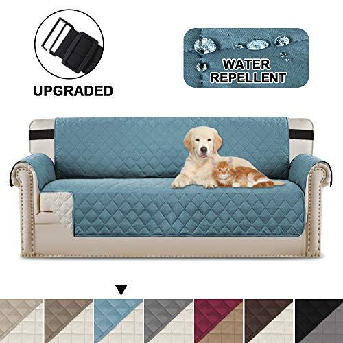 BellaHills Wendbare Stuhlabdeckung für Hunde Pet Abdeckung für Stuhl/Stuhl Schonbezug/Stuhlschutz, Maschinenwaschbar, Double Diamond Quilted (3 Sitzer: Schwarz/Grau)