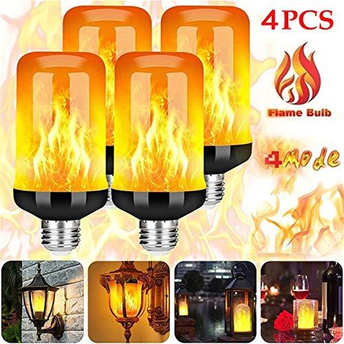 LED Flame Effect Light Bulb 4 Modes Flickering Emulation Home Garden Lamp Christmas Halloween Decor Light Flame Bulbs Lights,4pcs