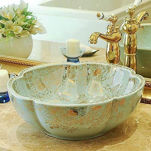 RTTGOR Lavabo fatto a mano Lavabo Lavabo artistico in ceramica dipinta a mano moderno lavabo