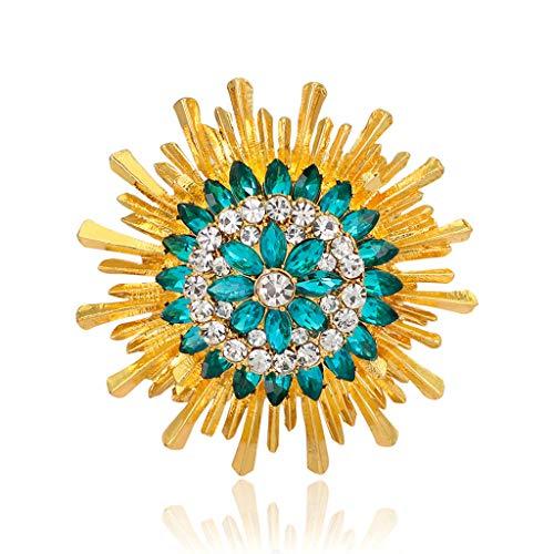 Baiyao Broche de girasol para mujer, elegante broche de diamantes de imitación de girasol solapa pin de dibujos animados de colores brillantes