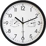 XJZKA Reloj de Pared Azul silencioso Que no Hace tictac con Temperatura y Humedad Relojes Decorativos de Cuarzo Estilo Moderno para baño Cocina Garaje 12 pulgadas/30 cm, 10 & ldquo;Negr