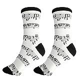 mugesh Musik-Socken weiß mit Notenlinien (39/42) - Schönes Geschenk für Musiker