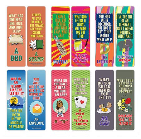 Creanoso Funny Riddle Jokes Puns Bookmarks (12-Pack) – Unique Stocking Stuffers Gifts for Boys & Girls, Unisex Adults – Cool Book Page Clippers Collection Set for Riddle – Awesome Giveaways